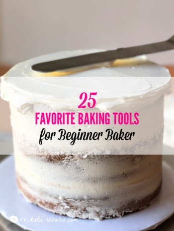 Here's a guide for you to get the tools so you can be a successful baker! This list is separated into different categories of essential must-haves, intermediate tools, and advanced skill. Having the right baking tools can make all the difference when it comes to baking and decorating cakes! #xokatierosario #bakingtools #cakedecoratingtips #musthavebakingtools