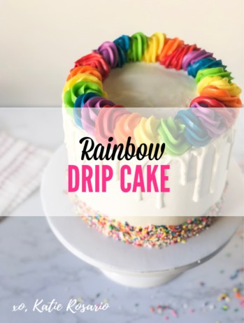 Learn how to make this bright and festive rainbow drip cake that's colorful inside and out. This rainbow drip cake is made with soft layers of funfetti cake, vanilla rainbow buttercream and white chocolate dripping down the sides. What I love most about this cake is how you can take simple baking and cake decorating techniques and turn them into an impressive cake! #xokatierosario #rainbowdripcake #cakedecoratingtipsandtricks #rainbowcaketutorials