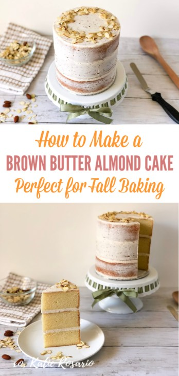 "Fall is here, and this brown butter almond cake is the perfect way to introduce the new season! When it comes to decorating this cake seriously, anyone can make it. This decorating style is typically called a crumb coat or a ""naked"" cake. This method means that it's a light layer of buttercream covering the sides of the cake. Learn how to make this brown butter almond naked cake! #xokatierosario #cakedecoratingtipsandtricks #nakedcakeideas #brownbutteralmondcake #almondcakerecipes"