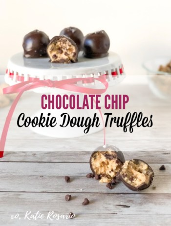 These chocolate chip cookie dough truffles are rich and decadent made with raw cookie dough dipped in dark chocolate and have little flakes of sea salt on top. They are perfectly balanced between salty and sweet. You can serve these no-bake cookie dough truffles at room temperature or serve them cold out of the freezer for a refreshing treat! These chocolate chip cookie dough truffles are always a crowd favorite! #xokatierosario #cookiedoughtruffles #chocolatechipcookiedough #nobakedesserts #nobakerecipes