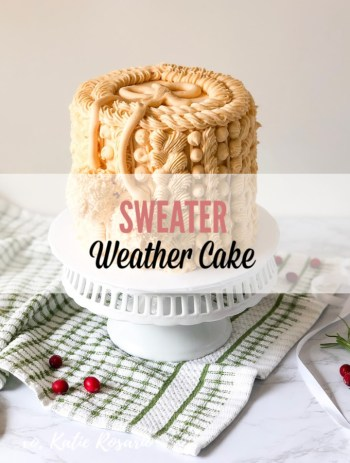 Have you ever wondered how the professional makes those beautiful cakes? The baking pros take inspiration from the most unlikely of things like your favorite winter sweater! Today we are talking about how to a cake into a sweater fit to stand the cold weather. The combination of these four piping techniques that are piped tightly together create the effect of a chunky sweater! #xokatierosario #sweatercakeideas #sweaterweather #wintercakeideas #cakedecoratingtipsandtricks