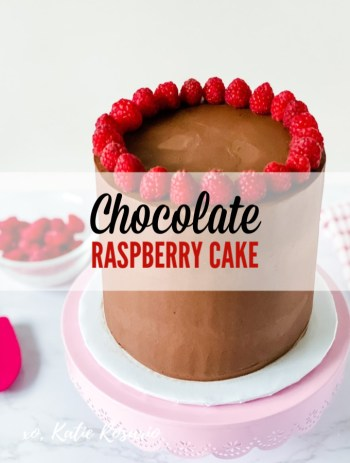 This chocolate raspberry cake is rich and decadent and something that every sweet tooth needs. The dark chocolate cake layers are light and fluffy and perfect for newbie and experienced bakers. This chocolate cake recipe is forgiving; it can be overmixed or overbaked and will still be moist. This chocolate raspberry cake can be made all year round but especially spring. #xokatierosario #chocolateraspberrycake #darkchocolatecake #easycakerecipe #cakedecoratingtips