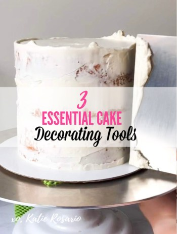 Learn how to Decorate Cakes Like a Pro With These 3 Essential Tools. We'll talk about the three must-have decorating tools you'll use for every cake. Without these three must-have tools, decorating cakes becomes much harder and will feel overwhelming. These three tools are a must-have to make your first cake. #xokatierosario #cakedecoratingtools #cakedecoratingtips #bakingtools