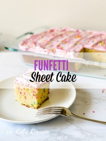 "Let's talk funfetti cake! Funfetti is always a good idea and a beloved cake that NO one will say, ""no cake today."" Sheet Cake is great for large gatherings, and they take less time to make. So it's a win-win for newbies and when you are in a pinch a need a quick dessert. #xokatierosario #funfettisheetcake #sheetcakerecipe #funfetticakerecipe #cakedecoratingtips"