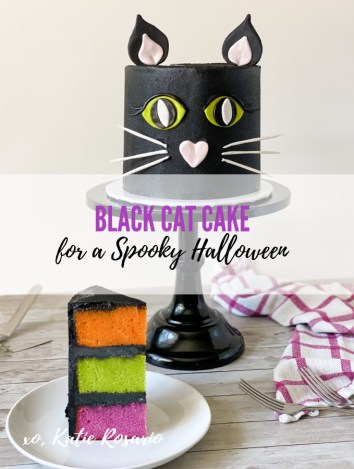 Halloween is not complete without the classic Black Cat so let's turn that into a fun and festive Halloween cake! This Black Cat Cake is made with tender vanilla cake layers filled with black chocolate buttercream and fondant decorations. I'll show you step by step how to make cat eyes, ears, nose, and whiskers out of fondant to complete this perfect Halloween cake! #xokatierosario #katierosario #halloweencakeideas #cakedecoratingtips #blackcatcake
