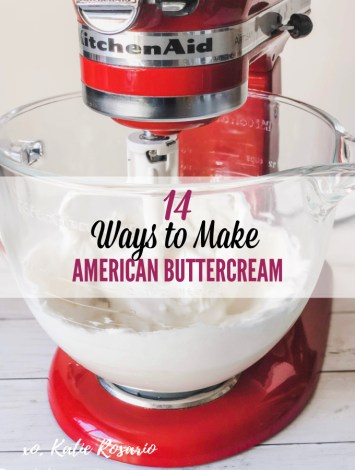 Learn how to make 14 delicious American buttercream recipes that'll make any cake look and taste insanely good. Learn how to master making American buttercream that'll help you decorate 14 beautiful cakes. American buttercream is perfect for beginner cake decorators as it's beyond easy to make and always delicious! #xokatierosario #cakedecoratingtips #americanbuttercream #katierosariocakes #frostingrecipes