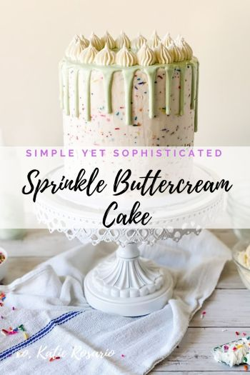 Learn how to make this simple yet sophisticated sprinkle buttercream cake! This Sprinkle Buttercream Cake is made with chocolate cake layers, filled with sprinkle vanilla buttercream and mint-colored candy dripping over the sides. Created by Katie Rosario, XOKatieRosario creates beautiful cake decorating techniques that are easy for beginners and strategically designed for any home baker. #xokatierosario #katierosariocake #cakedecorating #caketips #sprinkles #easybuttercream #cakedecoratingcourse #homebakingcourse