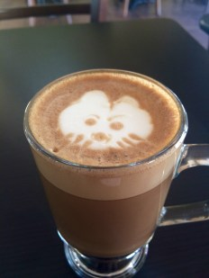 Making friends with local baristas = kitty latte art.