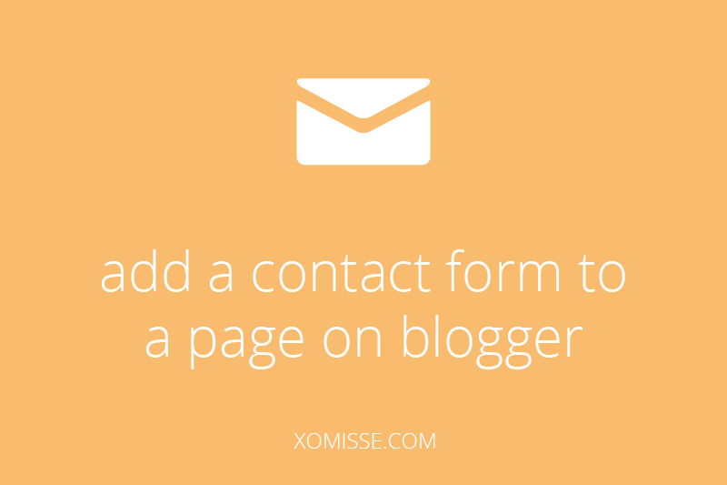 add a contact form to a page on blogger
