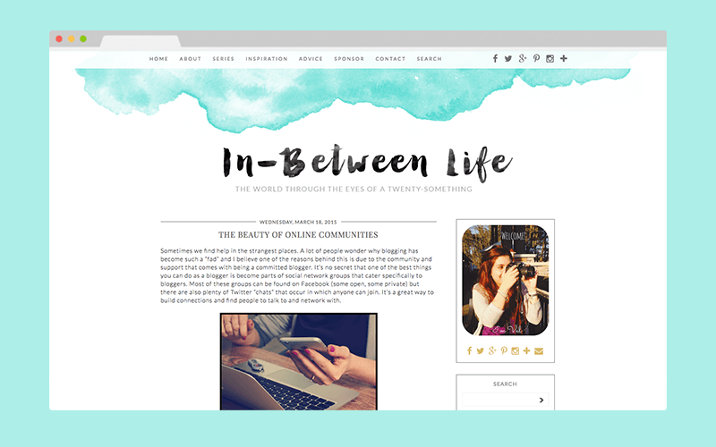 In Between Life Custom Blog Design