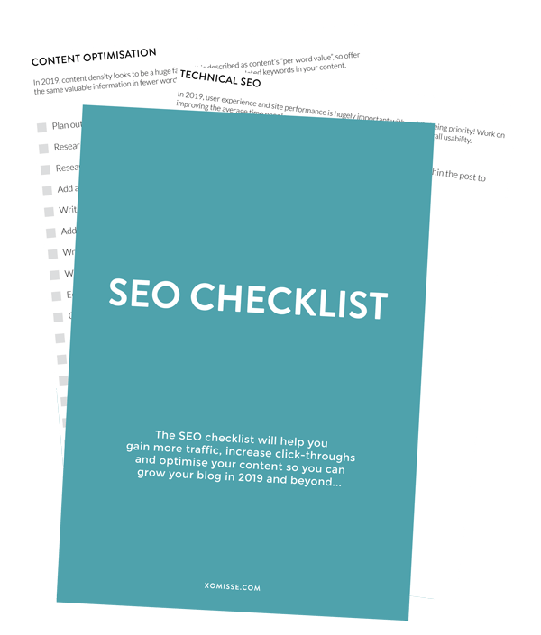Get a free SEO checklist when you signup to the XOmisse Newsletter