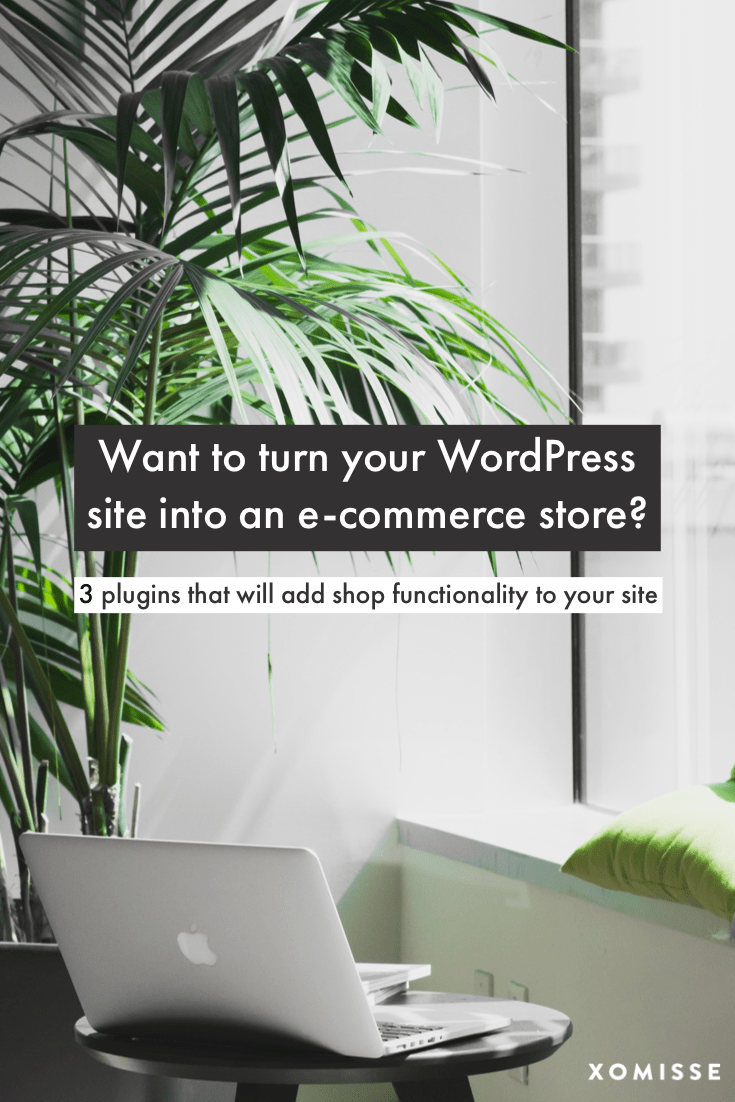 "Image with palm trees and a MacBook Pro, with text overlay saying ""Want to turn your WordPress site into an e-commerce store?"""
