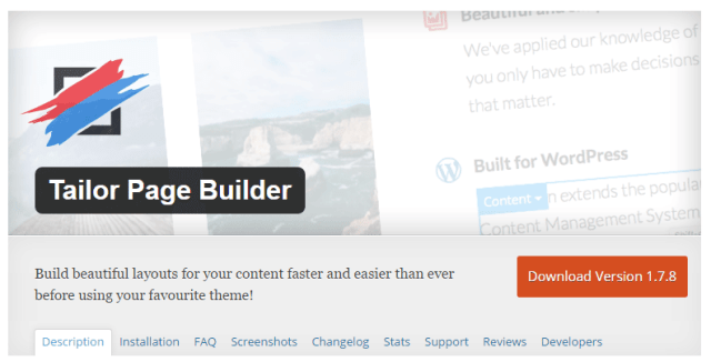 Free WP Drag and Drop Tailor Page Builder