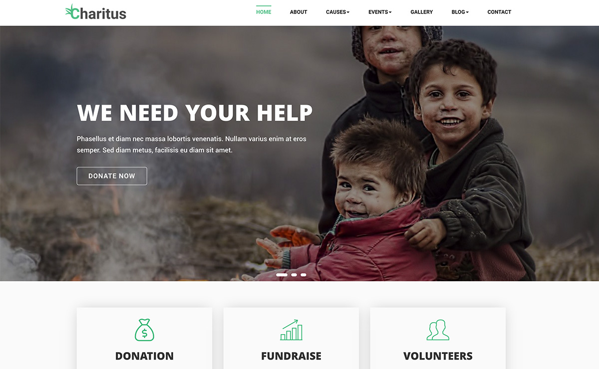 charitus donation non profit charity website bootstrap template