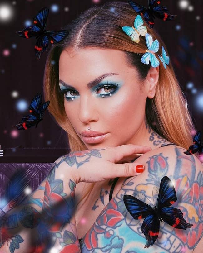 Bailey Sarian in a makeup transformation photograph