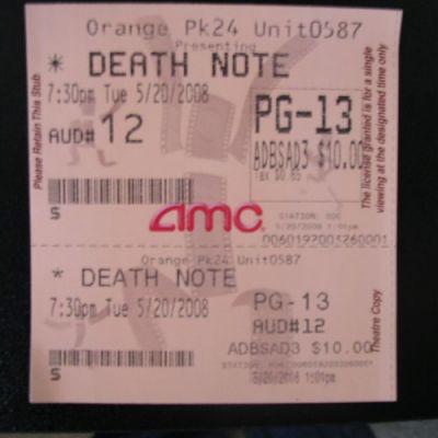 Death Note movie ticket