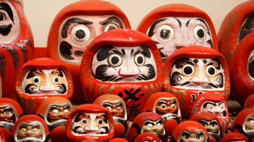 The Daruma dolls have real eyes.