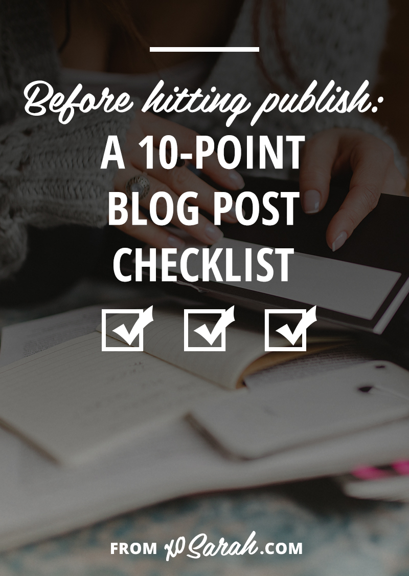You've finished your latest blog post and are all ready to hit publish, but are you missing any key ingredients that could help boost your post's ability to be read, shared or snag a new reader? Here's my 10 point checklist to make sure your post is good to go!