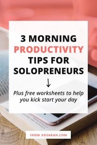 Hey solopreneur - are your mornings not feeling very productive? An energized and motivated morning is right around the corner and no, you don't have to get up at 5am or get dressed like you're going to an office job. Here are three productivity tips to help you hit the ground running every single day.