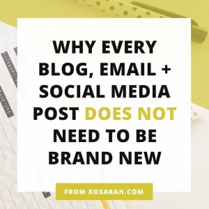 Blog posts, emails, Instagram, YouTube, Facebook - how exactly are all of these bloggers and business owners coming up with a continuous stream of brand new content every single day? They AREN'T! Learn how to create daily posts WITHOUT starting from scratch every time.