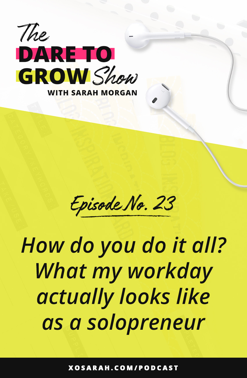How do you do it all as a solopreneur. Owning a small business means you're wearing lots of hats. After 8 years in business I've learned a lot about how to keep my schedule on track, nail my deadlines, and set boundaries without driving head first into burnout - and I'm sharing it all in this episode of The Dare to Grow Show!