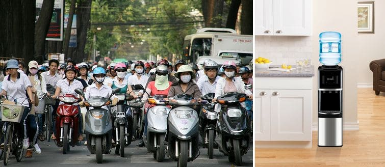 Air and water pollution are serious concerns for people living in Vietnam.  Wearing masks and drinking filtered water are just two ways to counteract that problem.
