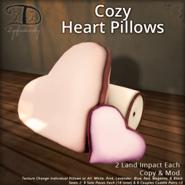 Dysfunctionality - Cozy Heart Pillows http://maps.secondlife.com/secondlife/Dysfunctionality/53/102/24