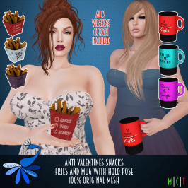 ZcZ Anti Valentines Snacks and Mugs http://maps.secondlife.com/secondlife/Campagnola/216/119/2503