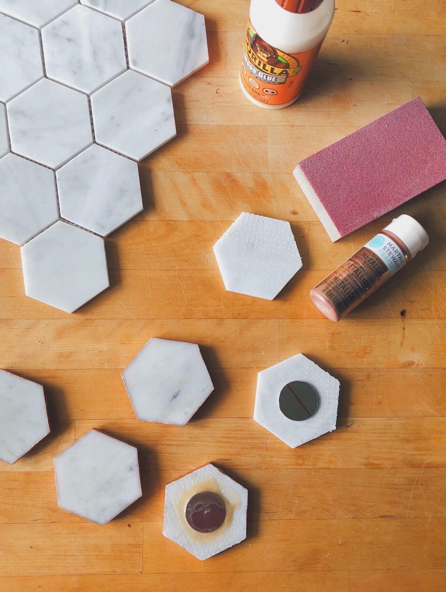 Easy DIY Carrara Marble Magnets rose-gold diy