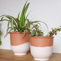 Two-tone terra cotta pots DIY