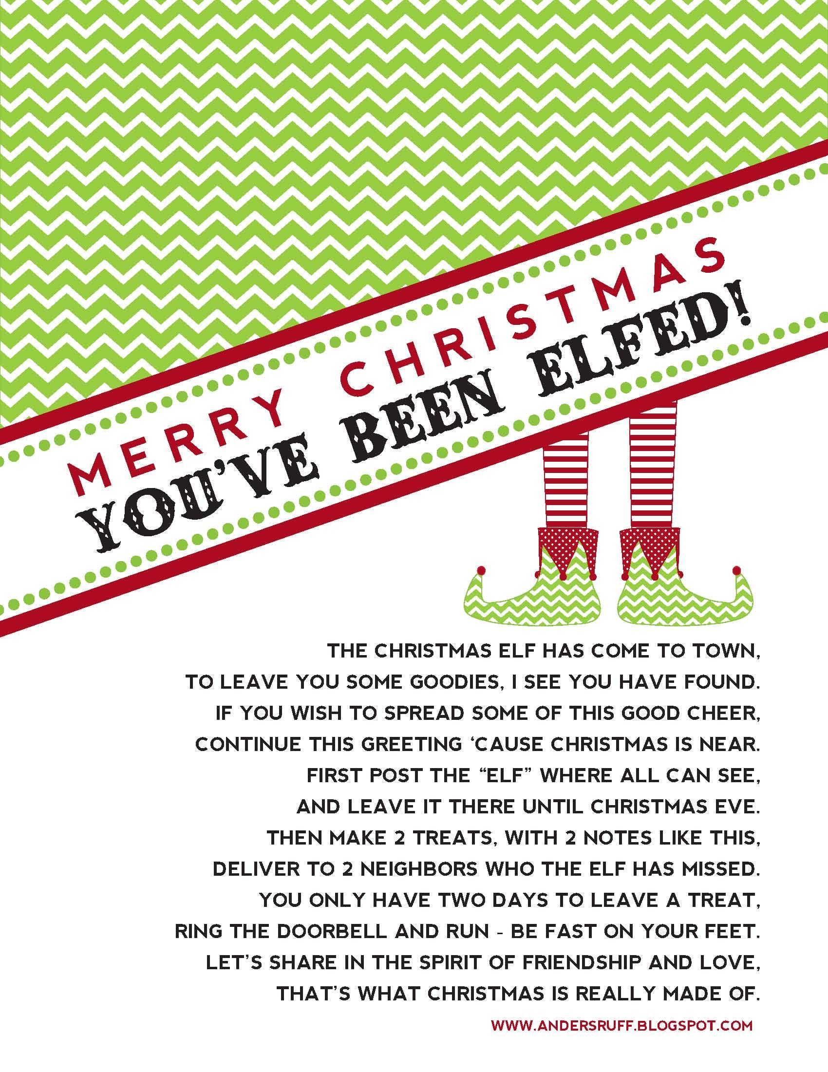 graphic relating to You've Been Elfed Free Printable named elfing + reindeer foodstuff + deal with strategies xoxostacyb