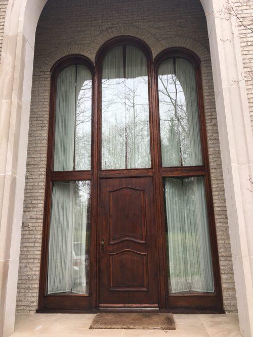 Staining a door