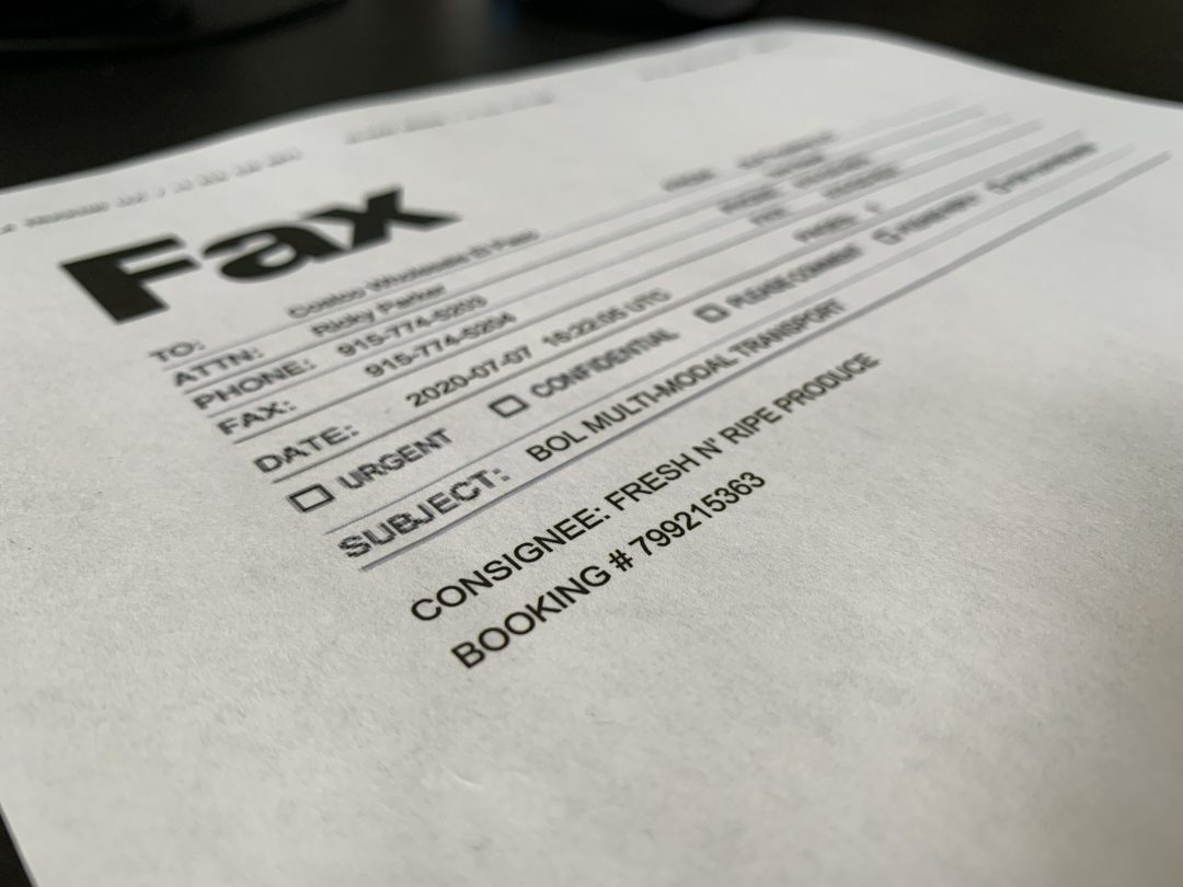 Fax paperwork