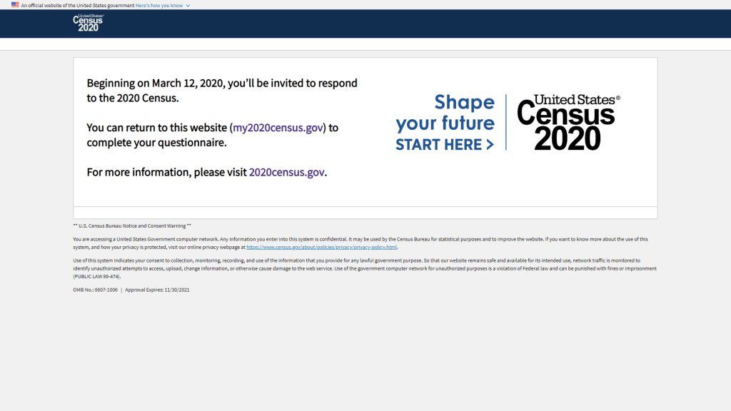 official my2020census.gov website