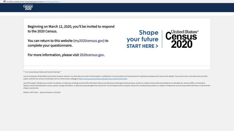 official my2020census.gov website