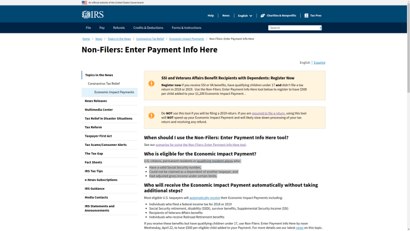 IRS Stimulus Payments for non-filers