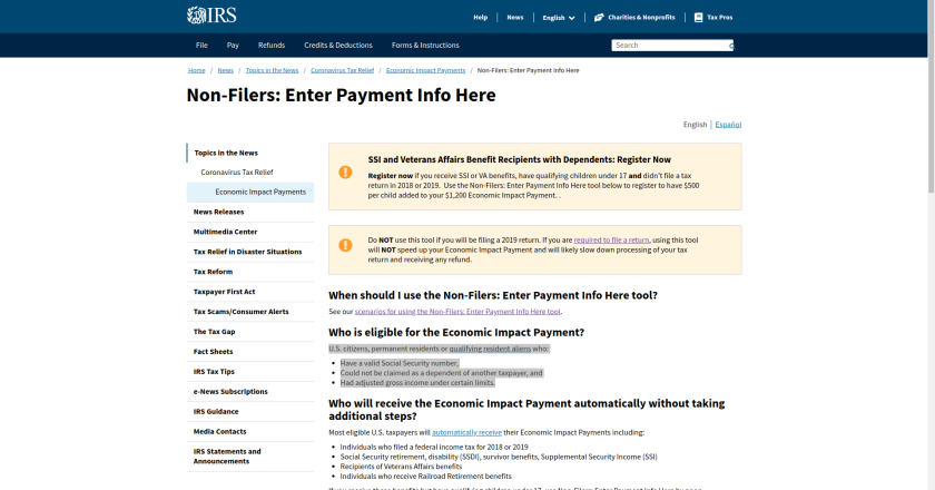 Complete Guide to IRS Stimulus Payments for non-filers