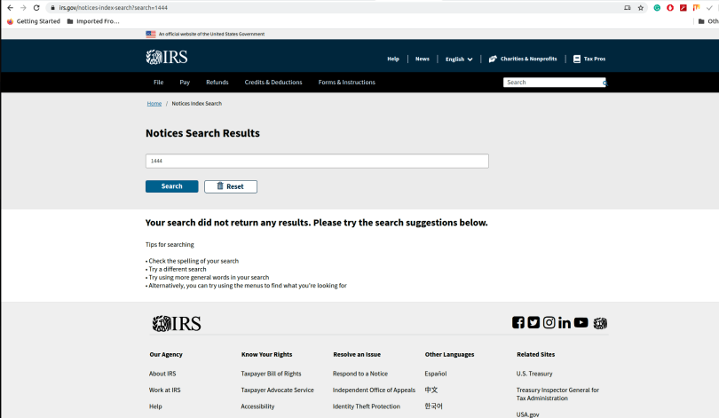 search result for IRS notice 1444