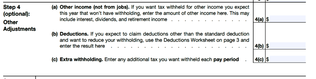 Step 4(c) w4 form 2020 exempt location