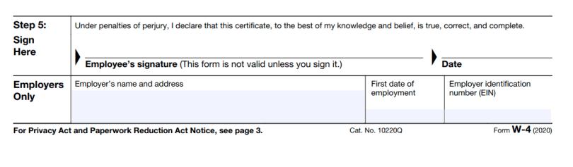 Step 5 w4 form 2020