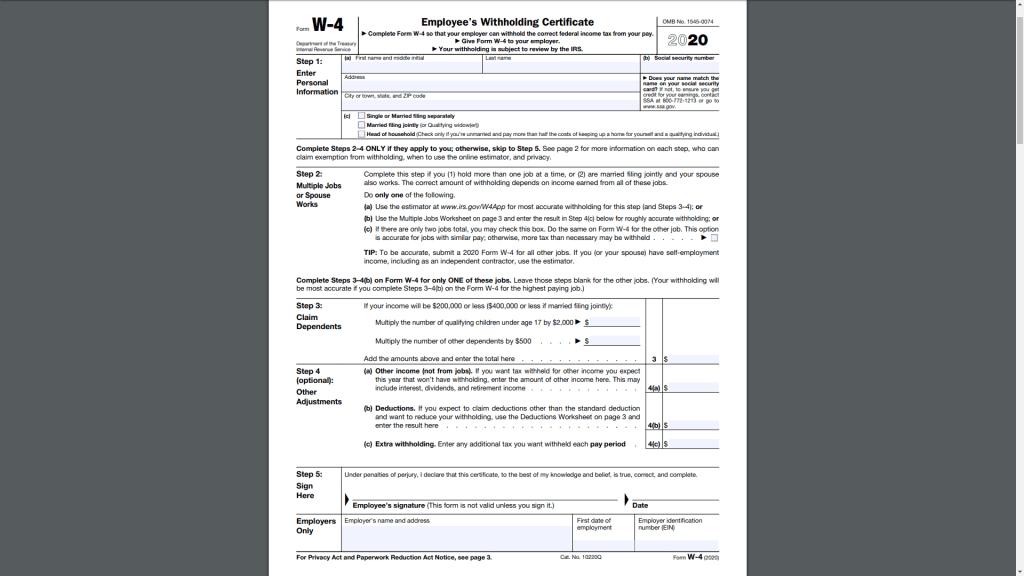 new designed w4 form 2020 screenshot