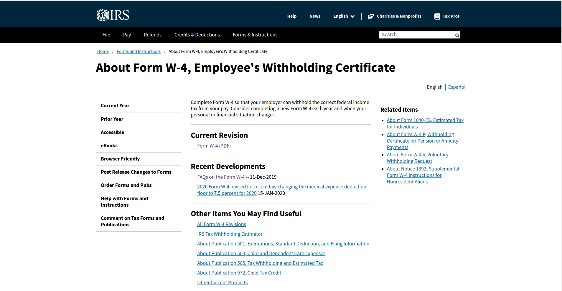 w4 form 2020, Employees Withholding Certificate