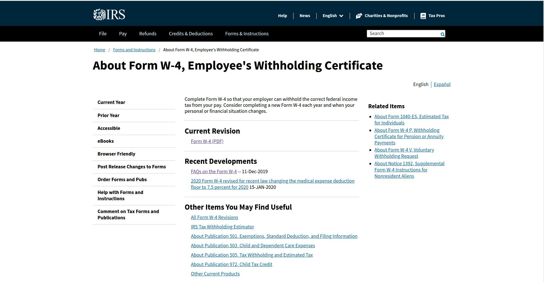 w4フォーム2020、従業員源泉徴収証明書