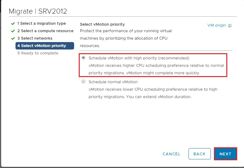 select vmotion priority