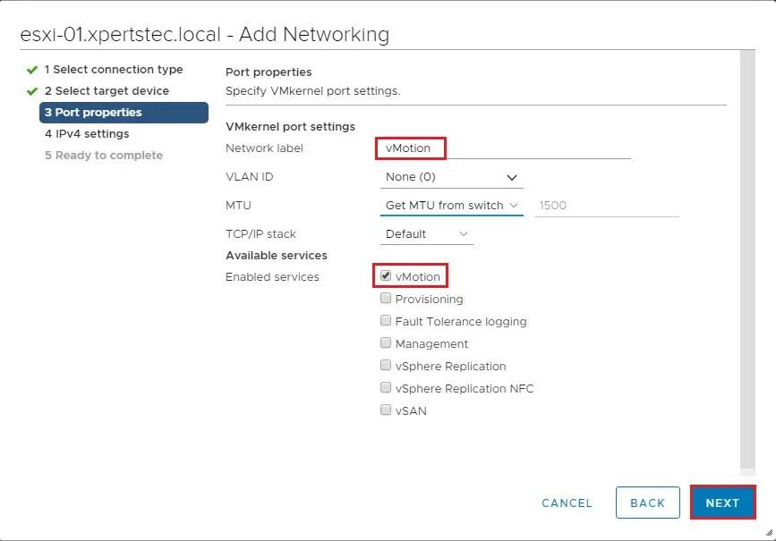 vmkernel port settings