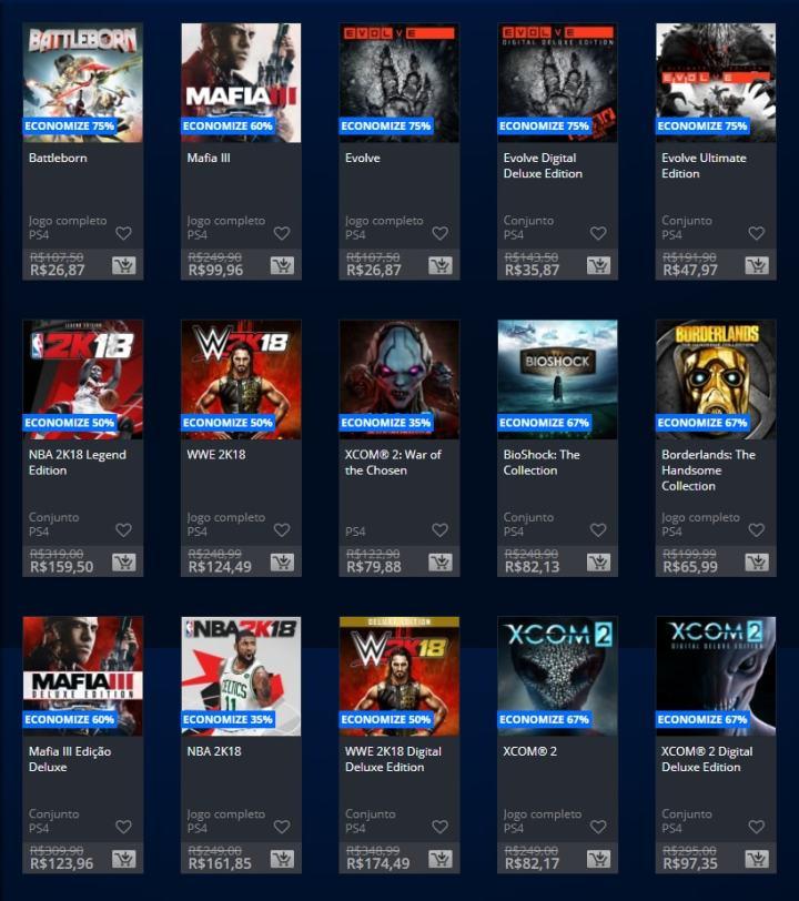 2K Sale: Sony faz promoção de jogos na PSN até 20/02