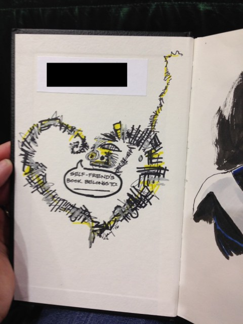 Someone wanted me to draw a Warlock book plate in their X-Men sketchbook. The sketch on the facing page is X-Factor Cyclops by Ibrahim Moustafa, which was intimidating as all hell.