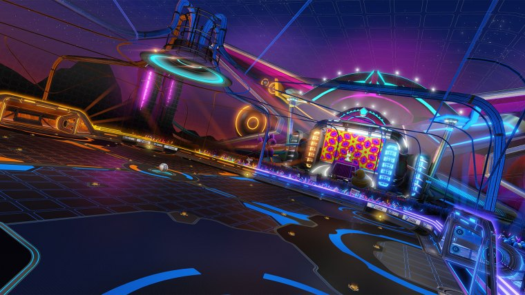 The Neon Fields arena in Rocket League.