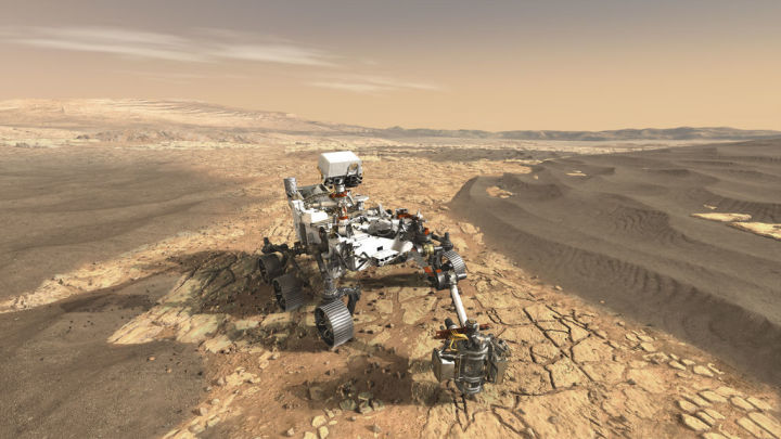 An artist rendition of Perseverance on Mars, Photo Credit: NASA