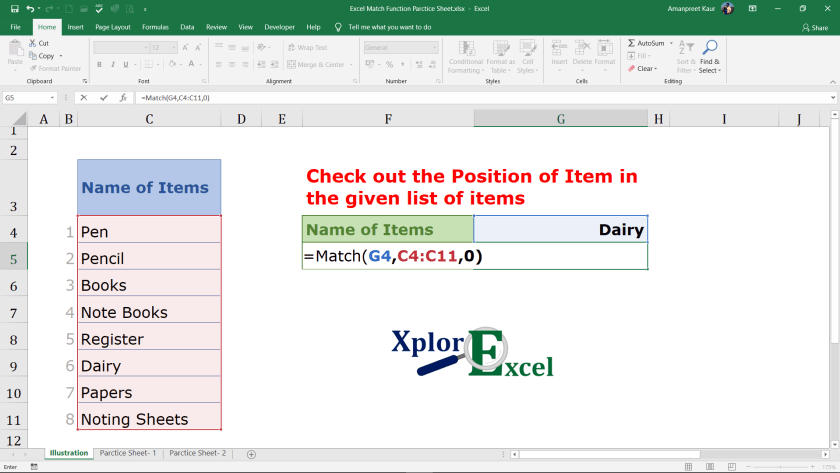 Explanation of Match Function in Excel (5)